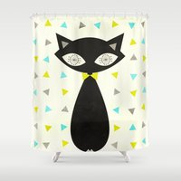 mid century Shower Curtains featuring Mid Century Cat  by Laura Ruth
