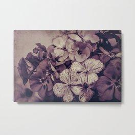 Geraniums -- Monochrome Floral in Aubergine Metal Print