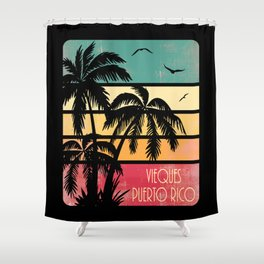 Vieques Puerto Rico Vintage Summer Shower Curtain