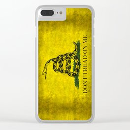 Gadsden Flag, Don't Tread On Me in Vintage Grunge Clear iPhone Case