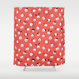Children Animal Polka Dots Red Shower Curtain