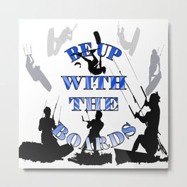 Be Up With The Boards Text And Kitesurfer Vector Metal Print