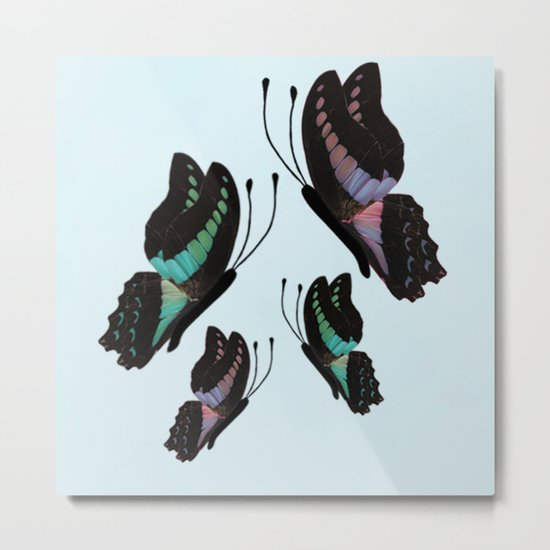 Purple and Blue Butterflies  Metal Print