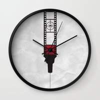 movies Wall Clocks featuring Addicted: Movies by Geminianum
