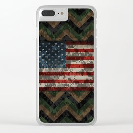 Green and Brown Military Digital Camo Pattern with American Flag Clear iPhone Case