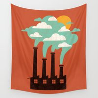cloud Wall Tapestries featuring The Cloud Factory by Picomodi