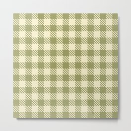 Plaid Pattern 513 Olive Green and Yellow Metal Print