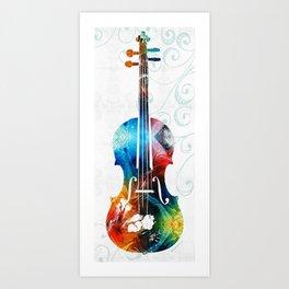 Colorful Violin Art by Sharon Cummings Art Print