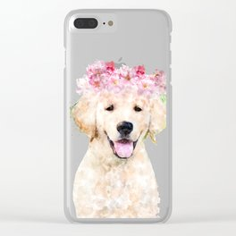 Watercolor Labrador with flowers,  happy puppy, nursery decor, Dog Painting Clear iPhone Case