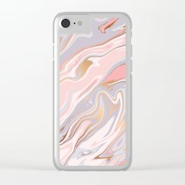 Marble and Gold 005 Clear iPhone Case
