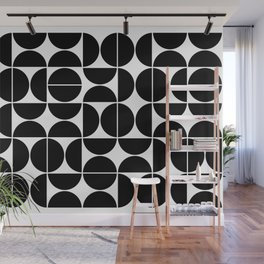 Mid Century Modern Geometric 04 Black Wall Mural