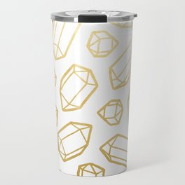 Gold and White Gemstone Pattern Travel Mug