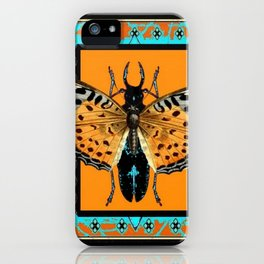 CONTEMPORARY  BUTTERFLY GREY STAG-HORNED BEETLES iPhone Case