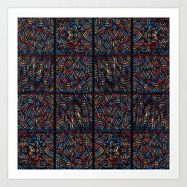 total psychedelic mess pattern Art Print