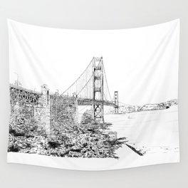 San Francisco Golden Gate Bridge Ink Drawing Wall Tapestry