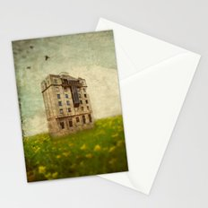 Building in a field Stationery Cards