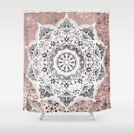 Dreamer Mandala White On Rose Gold Shower Curtain