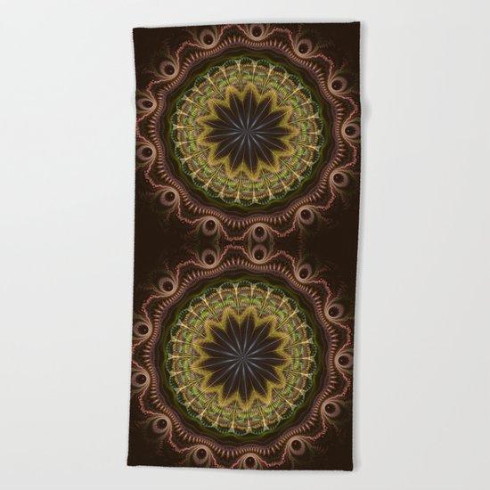 Groovy fractal mandala with tribal patterns Beach Towel