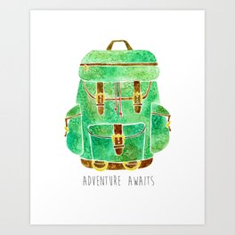Backpack Adventure Art Print
