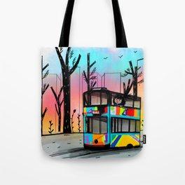 Little girl in a tram Tote Bag
