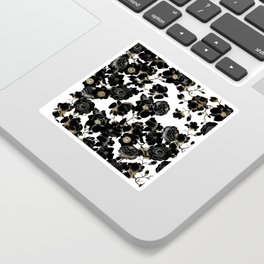 Modern Elegant Black White and Gold Floral Pattern Sticker