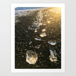Golden Ice Gems Art Print