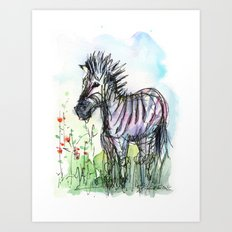 Zebra Whimsical Animal Art Art Print