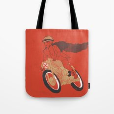 long hair girl riding a motorcycle Tote Bag