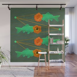 fishes and flowers color option Wall Mural