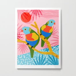 Besties - retro throwback memphis bird art pattern bright neon pop art abstract 1980s 80s style mini Metal Print