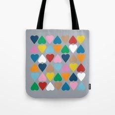 Diamond Hearts on Grey Tote Bag