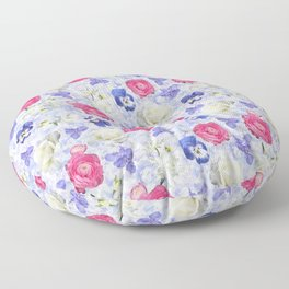 Rose Ranunculus Pansy Flowers over Pale Blue Floor Pillow