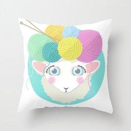 Sheepy Yarn Head Throw Pillow