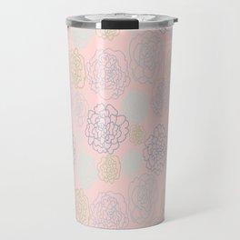 pink florals Travel Mug