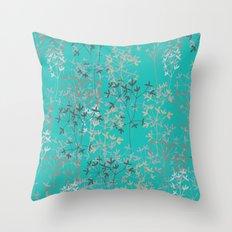 Twigs in aqua Throw Pillow