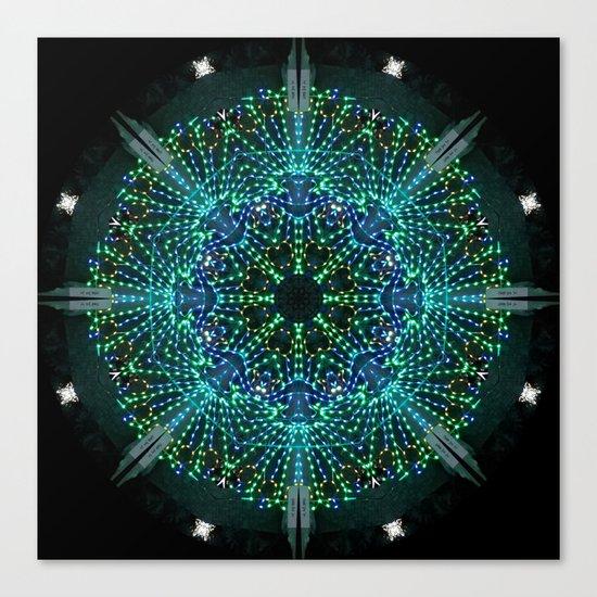 Kaleidoscope fantasy on lighted peacock shape Canvas Print
