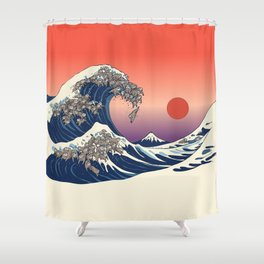The Great Wave of Sloth Shower Curtain