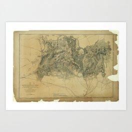 Civil War Map of the Battlefield of Bull Run, Virginia (July 21, 1861) Art Print