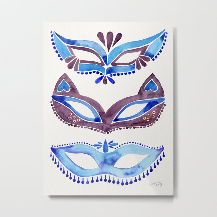 Masquerade Mask Trio – Navy & Grey Palette Metal Print