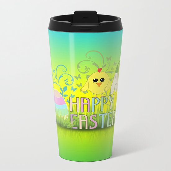Happy Easter Egg, Chick and Snowdrop Metal Travel Mug