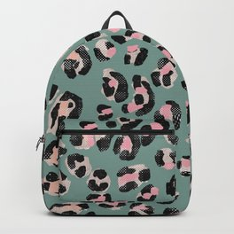 Leopard Print Pink & Mint Turquoise _ Oil Painting Backpack