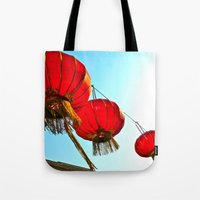 lanterns Tote Bags featuring Lanterns by Katherine Liu