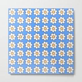 Retro Doodle Mini Flower - Blue and White Metal Print