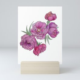 Peonies in Pink and Ink Mini Art Print