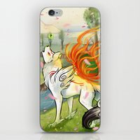 okami iPhone & iPod Skins featuring Okami Amaterasu by Keshi