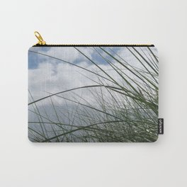 Grass in the dunes at sea against blue sky with white clouds Carry-All Pouch