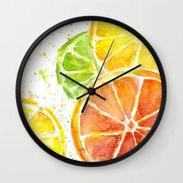 Fruit Juicy Citrus Watercolor Wall Clock