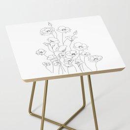 Poppy Flowers Line Art Side Table
