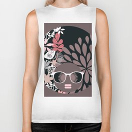 Afro Diva : Sophisticated Lady Pale Pink Peach Taupe Biker Tank
