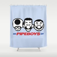 boys Shower Curtains featuring Pipe Boys by Mike Handy Art